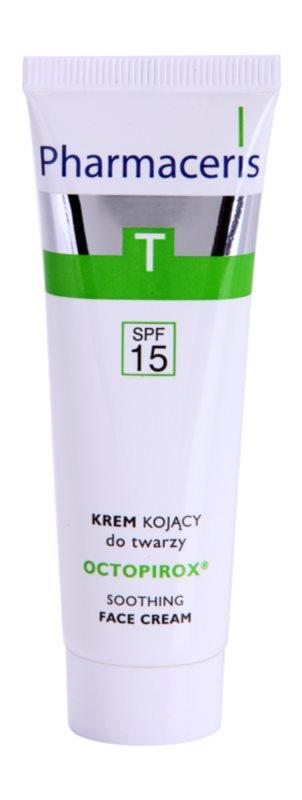 Pharmaceris T-Zone Oily Skin Octopirox Creme de dia calmante para a vermelhidão para pele oleosa e problemática