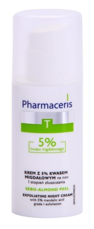 Pharmaceris T-Zone Oily Skin Sebo-Almond Peel noční regulační a čisticí pleťový krém pro jednotný tón pleti