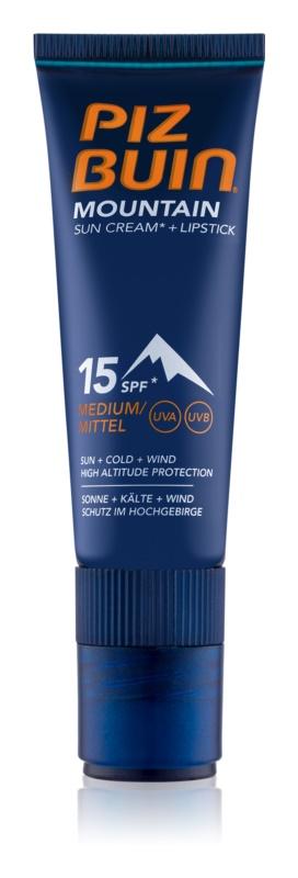 Piz Buin Mountain zaščitna krema za obraz in balzam za ustnice 2v1 SPF 15