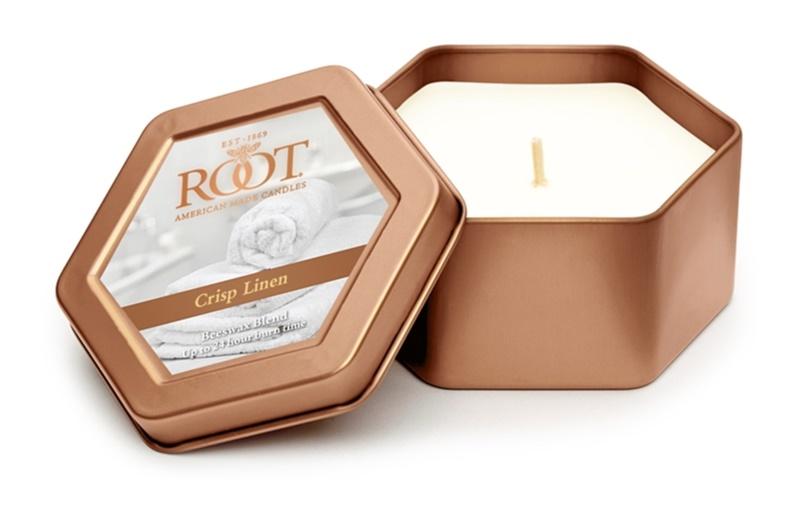 Root Candles Crisp Linen bougie parfumée 113 g en métal