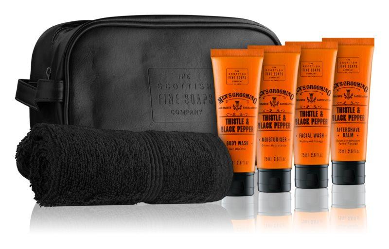 Scottish Fine Soaps Men's Grooming Thistle & Black Pepper Cosmetic Set III.