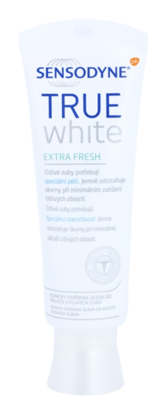 Sensodyne True White Extra Fresh Pasta de branqueamento para manchas no esmalte para dentes sensíveis