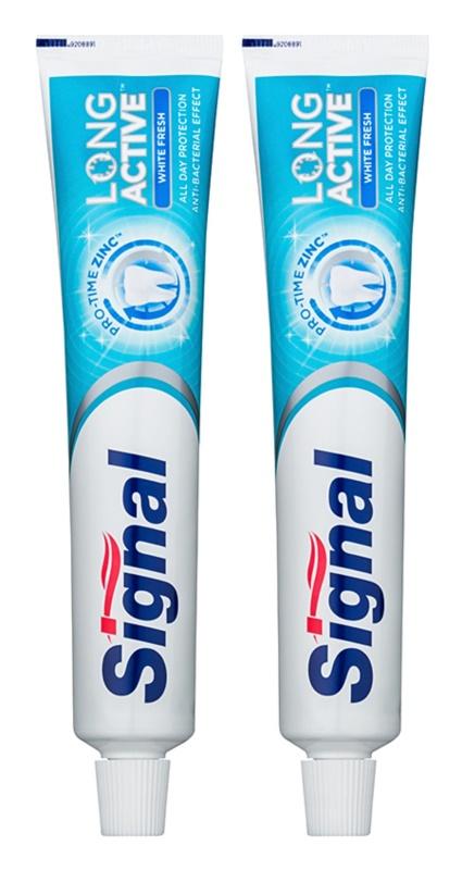 Signal Long Active White Fresh pasta de dientes blanqueadora para un aliento fresco duo