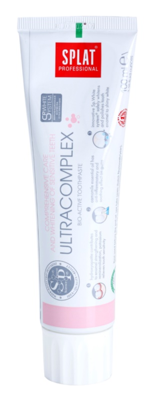 Splat Professional Ultracomplex pasta dentífrica bioactiva para cuidado integral y blanqueamiento de dientes sensibles