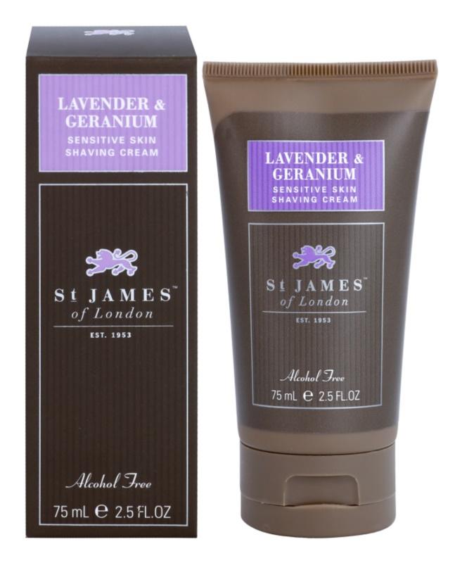 St. James Of London Lavender & Geranium crème à raser pour homme 75 g format voyage