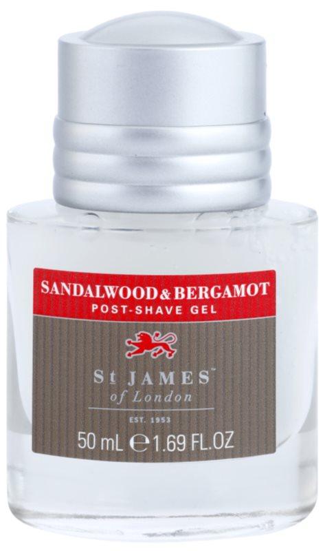 St. James Of London Sandalwood & Bergamot borotválkozás utáni gél férfiaknak 50 ml doboz nélkül utazási csomag