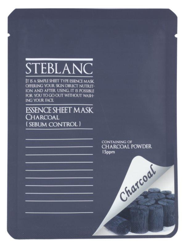 Steblanc Essence Sheet Mask Charcoal maseczka oczyszczająca do skóry  tłustej
