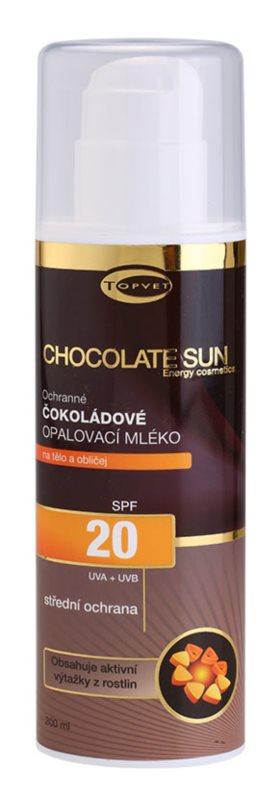 Topvet Chocolate Sun opaľovacie mlieko SPF 20