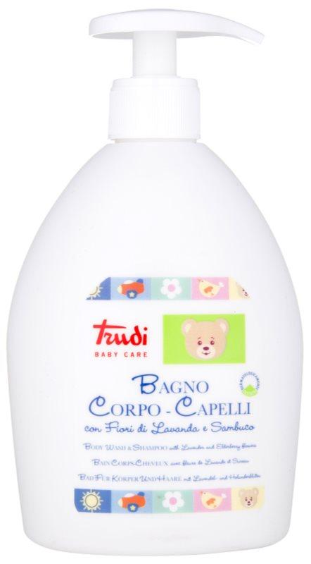 Trudi Baby Care Badelotion für Kinder und Shampoo mit Lavendel und Holunderblüten