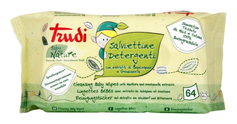 Trudi Baby Nature Hypoallergenic Cotton Cleansing Wipes with Hawthorn and Gentianella Extracts