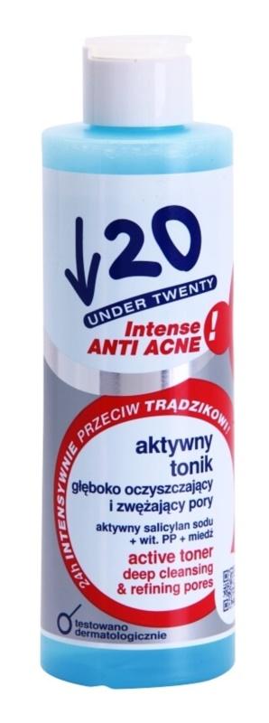 Under Twenty ANTI! ACNE INTENSE mélyen tisztító tonikum a pórusok méretének csökkentésére