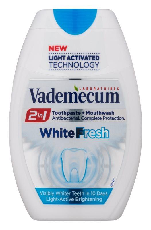 Vademecum 2 in1 White Fresh zubná pasta + ústna voda v jednom