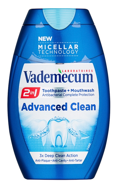 Vademecum Advanced Clean Pro Micellar Technology pasta de dientes y enjuague bucal 2 en 1 para una protección completa para dientes