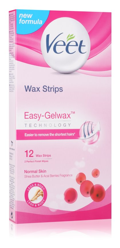 Veet Wax Strips voskové depilačné pásiky s bambuckým maslom a vôňou bobúľ