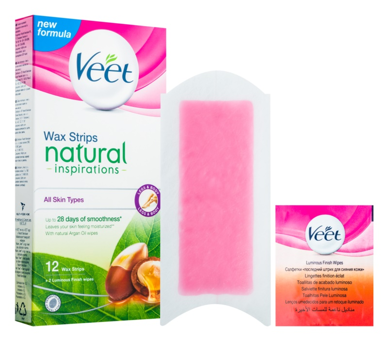 Veet Wax Strips Natural Inspirations™ voskové depilačné pásiky s arganovým olejom