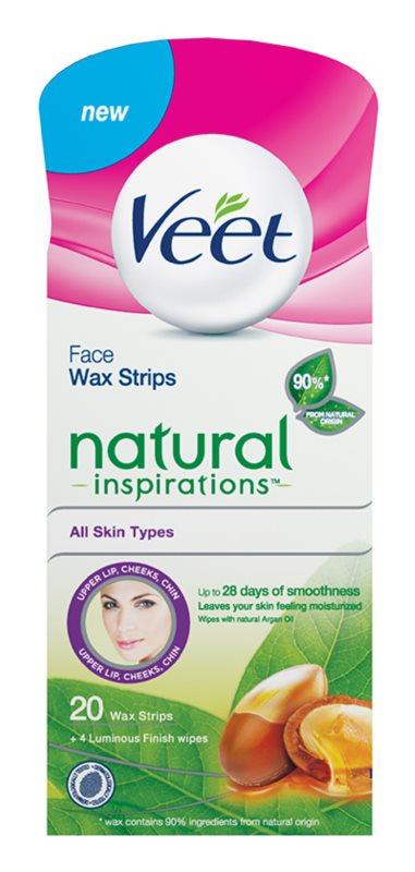 Veet Wax Strips Natural Inspirations™ Wachsstreifen zur Depilation des Gesichts mit Arganöl