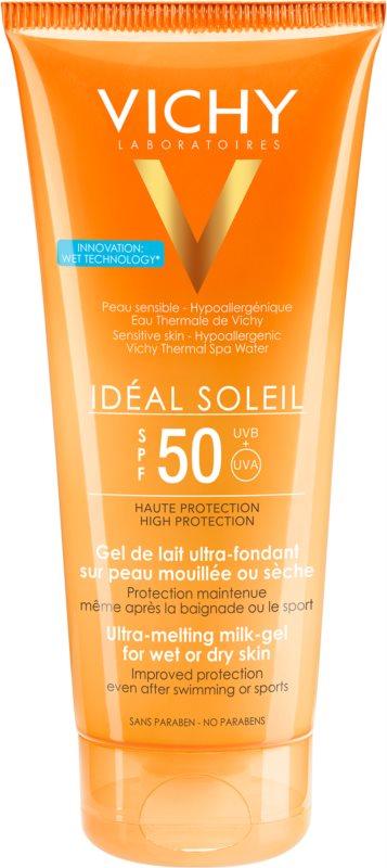 Vichy Idéal Soleil Gel leitoso para peles secas de fácil aplicação SPF 50
