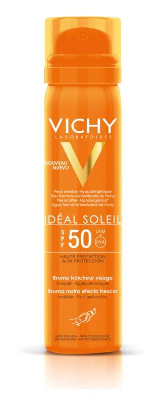Vichy Idéal Soleil osvežilno pršilo za sončenje za obraz SPF 50