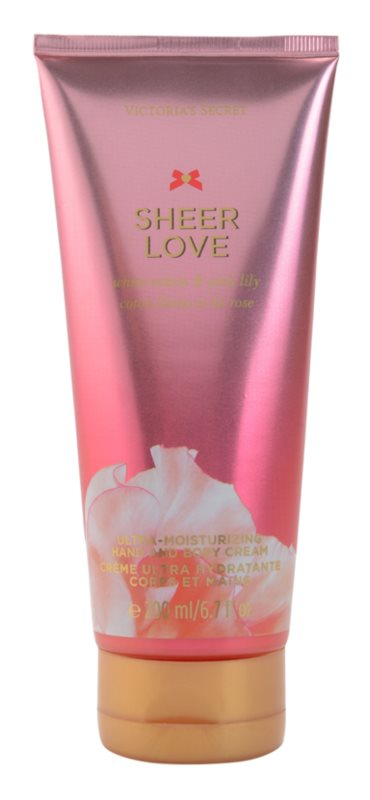 Victoria's Secret Sheer Love White Cotton & Pink Lily Bodycrème voor Vrouwen  200 ml