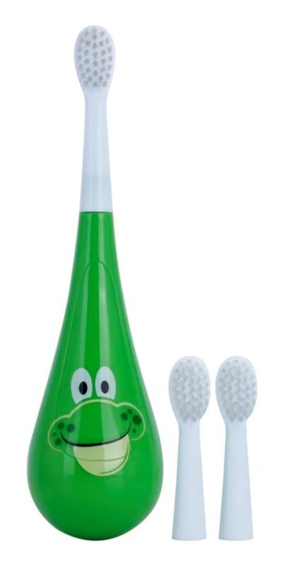 Violife Rockee Ribbit escova de dentes para crianças + 2 cabeças substituíveis