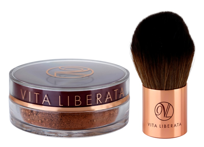 Vita Liberata Trystal Minerals компактна пудра-бронзантор зі щіточкою