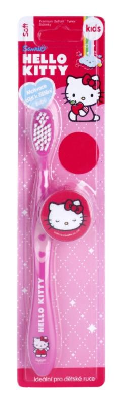 VitalCare Hello Kitty escova de viagem para crianças com tampa