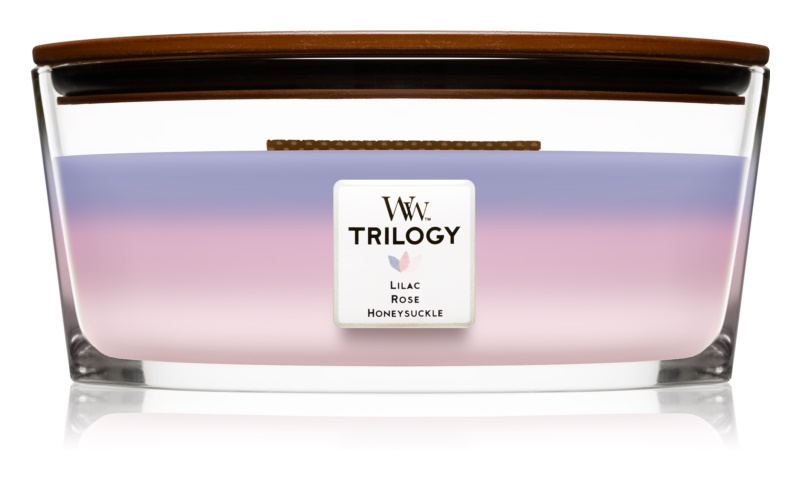 Woodwick Trilogy Botanical Gardens bougie parfumée 453,6 g Hearthwick (Lilac + Rose + Honeysuckle)