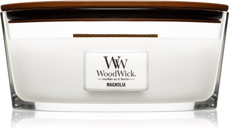 Woodwick Magnolia bougie parfumée 453,6 g avec mèche en bois (Hearthwick)