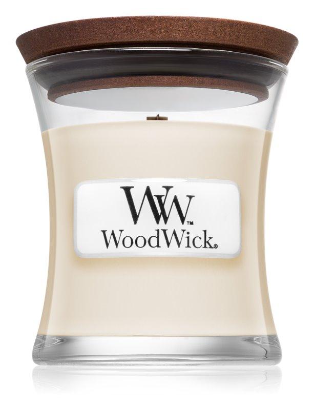 Woodwick White Tea & Jasmin lumânare parfumată  85 g cu fitil din lemn