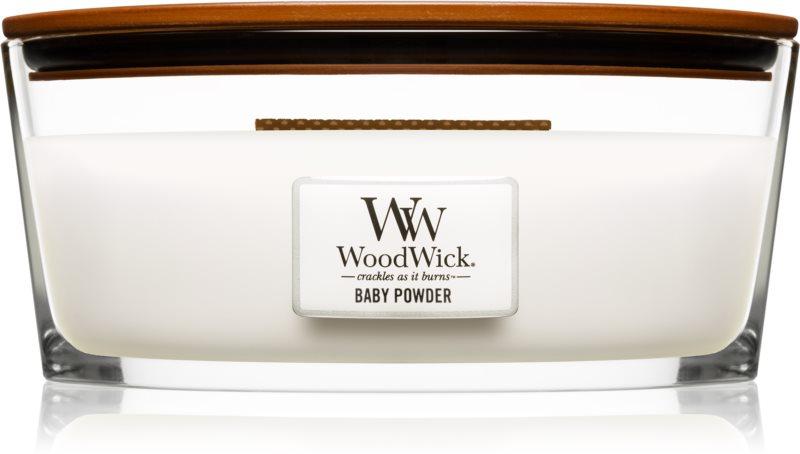 Woodwick Baby Powder Geurkaars 453,6 gr met een houten lont (Hearthwick)