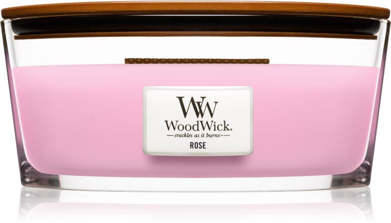 Woodwick Rose ароматна свещ  453,6 гр. с дървен фитил (Hearthwick)