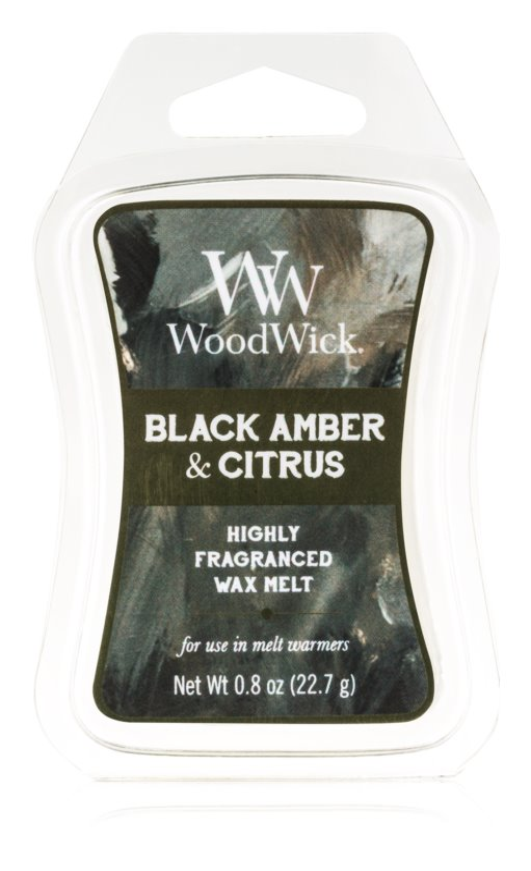 Woodwick Black Amber & Citrus Wachs für Aromalampen 22,7 g Artisan