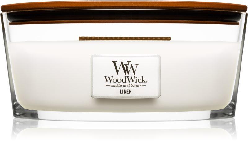 Woodwick Linen Geurkaars 453,6 gr Hearthwick