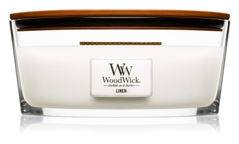 Woodwick Linen Geurkaars 453,6 gr met een houten lont (Hearthwick)