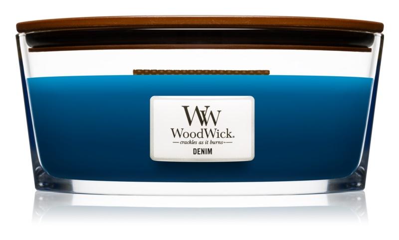 Woodwick Denim vonná svíčka 453,6 g s dřevěným knotem (Hearthwick)