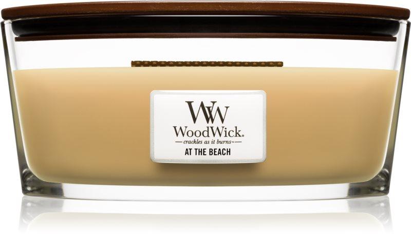 Woodwick At The Beach vonná sviečka 453,6 g s dreveným knotom (Hearthwick)
