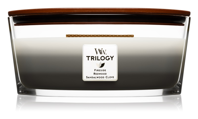Woodwick Trilogy Warm Woods bougie parfumée 453,6 g Hearthwick