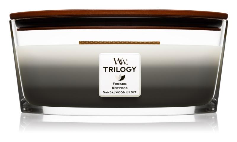 Woodwick Trilogy Warm Woods vonná sviečka 453,6 g s dreveným knotom (Hearthwick)