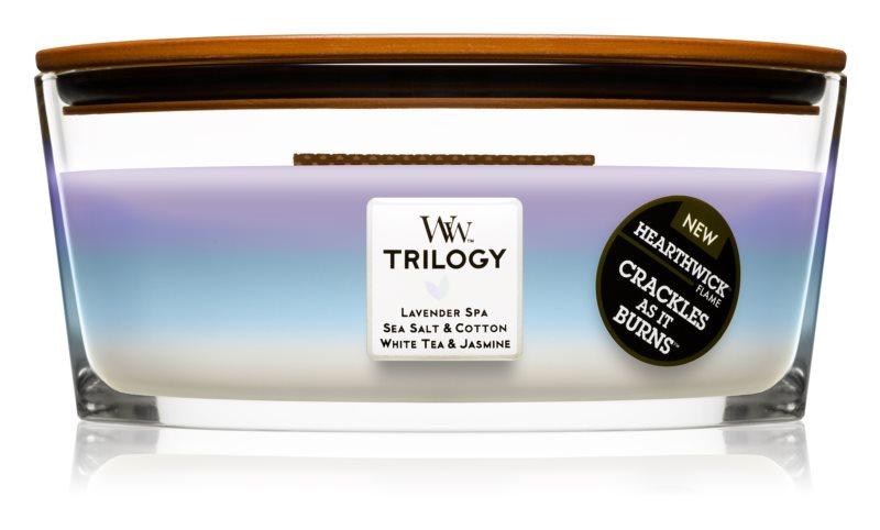 Woodwick Trilogy Calming Retreat bougie parfumée 453,6 g Hearthwick