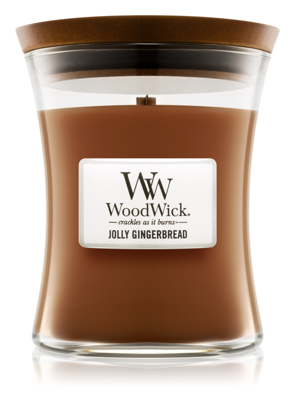 Woodwick Jolly Gingerbread lumânare parfumată  275 g mediu