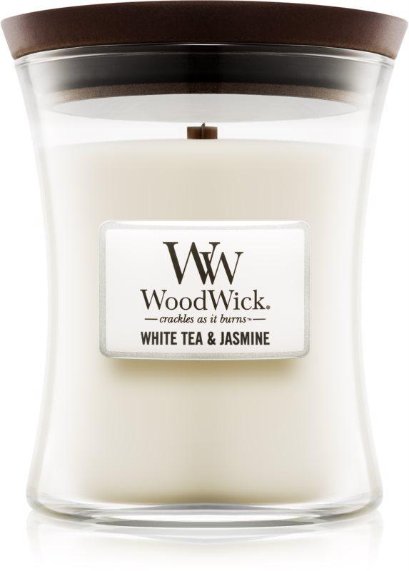 Woodwick White Tea & Jasmin ароматизована свічка  275 гр з дерев'яним гнітом