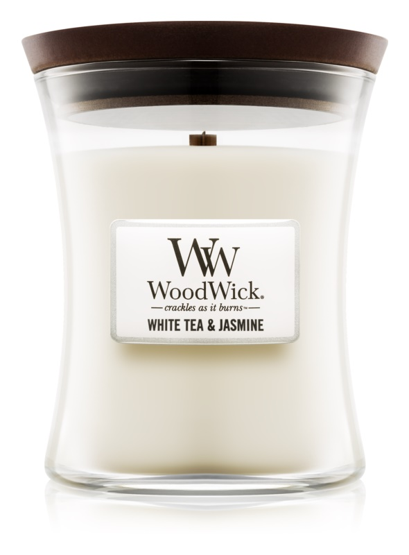 Woodwick White Tea & Jasmin illatos gyertya  275 g közepes
