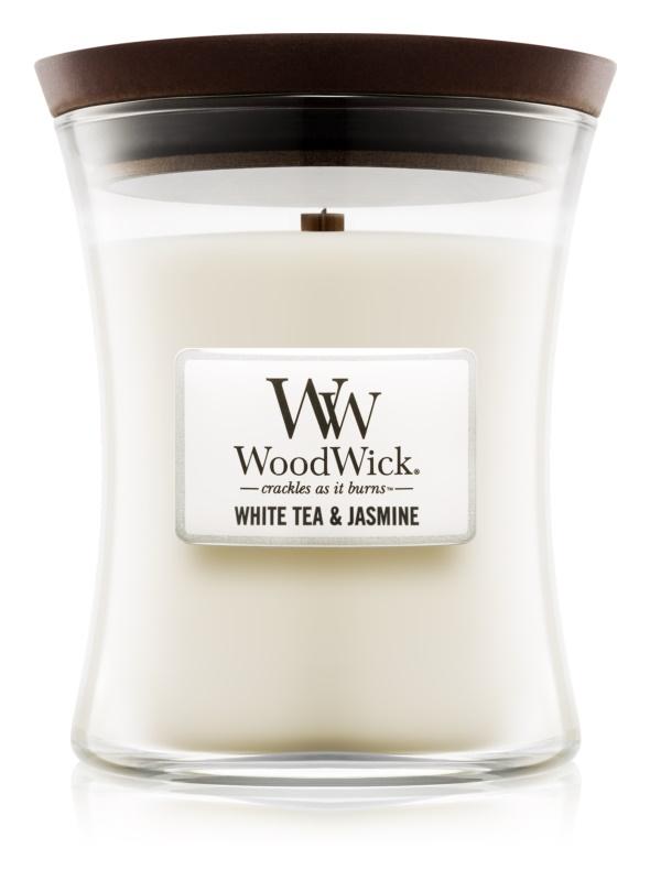 Woodwick White Tea & Jasmin vonná sviečka 275 g stredná