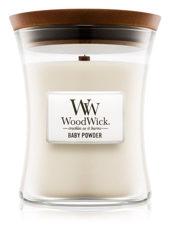 Woodwick Baby Powder illatos gyertya  275 g fa kanóccal