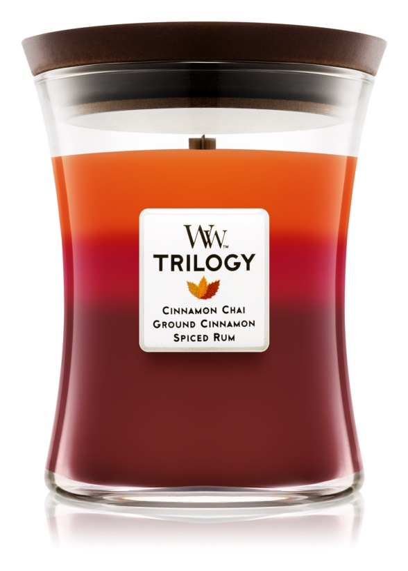 Woodwick Trilogy Exotic Spices lumanari parfumate  275 g mediu