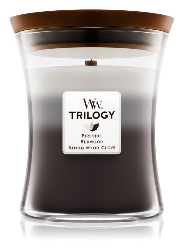 Woodwick Trilogy Warm Woods vonná sviečka 275 g stredná