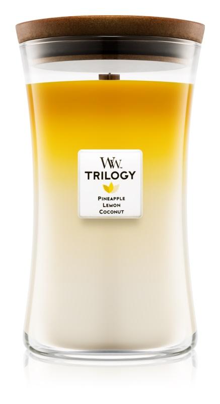 Woodwick Trilogy Fruits of Summer dišeča sveča  609,5 g velika