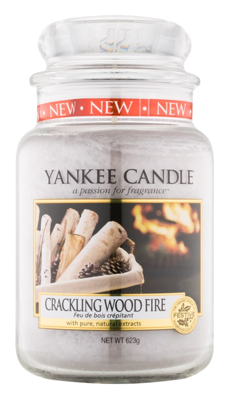 Yankee Candle Crackling Wood Fire candela profumata 623 g Classic grande