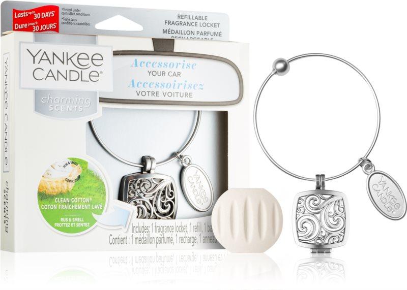 Yankee Candle Clean Cotton vôňa do auta   prívesok + náhradná náplň (Square)