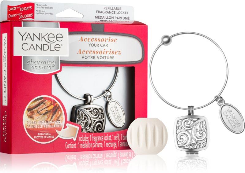 Yankee Candle Sparkling Cinnamon aроматизатор за автомобил   висулка + резервен пълнител (Square)